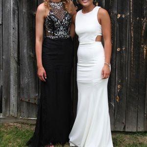 Black Jeweled-Bodice Lace Prom Dress